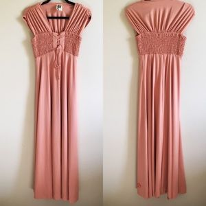 VINTAGE Smocked Front Lace Up Peach Maxi Dress
